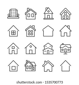 Set of outline home line icons isolated on a white background. House icons sign
