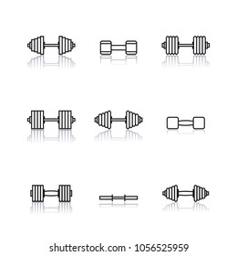 Set outline icon dumbbells of thin lines isolated on white background. Design elements sports equipment for the gym, vector illustration.