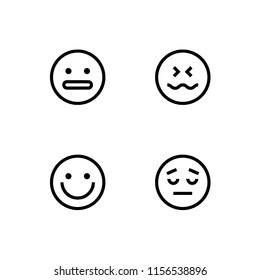Set outline icon EPS 10 vector format.  Transparent background. Faces with emotions, emoticons, emoji.