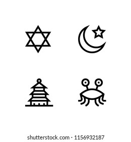 Set outline icon EPS 10 vector format.  Transparent background. Spirituality and religion.