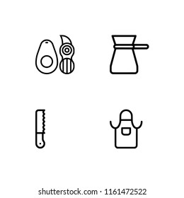 Set outline icon EPS 10 vector format.  Transparent background. Kitchenware utensils and cooking.