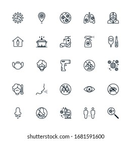 Set of outline icon related with coronavirus protection. Editable stroke. Outline icons suitable for web, infographics, interface and apps.