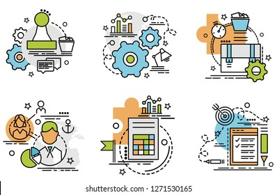 Set of outline icons of Audit. Colorful icons for website, mobile, app design and print.