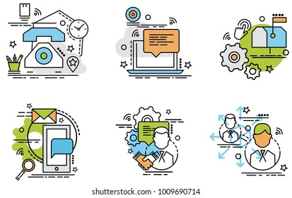 Set of outline icons of Communication.