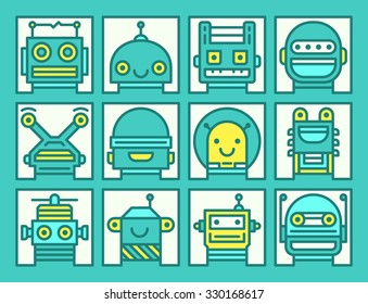 Set of outline icons with different robot faces