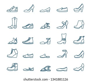Set of outline icons of different shoes. Sneakers, loafers, sandals, ballet shoes, cowboy boots, pumps, sports, with and without heels. Vector monochrome illustration isolated on white background.