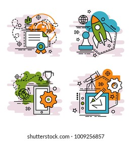 Set of outline icons of Innovation.Colorful icons for website, mobile, app design and print.