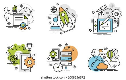 Set of outline icons of Innovation. Colorful icons for website, mobile, app design and print.