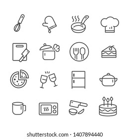 Set of outline icons for kitchen tools and cooking on white background