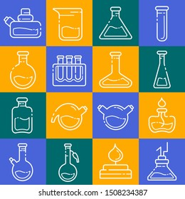 set of outline icons - laboratory flasks, measuring cup and test tubes for diagnosis, medical screening, scientific experiment. Chemical lab and equipment. Isolated vector signs in line style