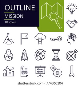 Set of outline icons of mission.  Modern icons for website, mobile, app design and print.
