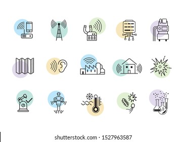 Set of outline icons of risks in the workplaces. Vecors of industrial risks for health and safety, such as radiations, acoustic risks, chemical and biological risks, explosion, asbestos.
