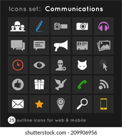 set with outline icons for web and mobile about communications