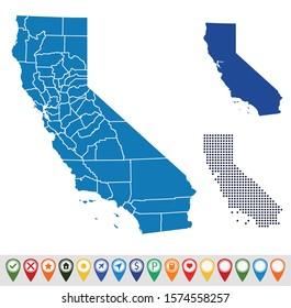 Set outline maps of California