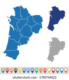 Set outline maps of Nouvelle-Aquitaine