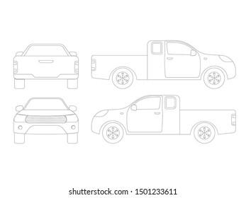Set of outline pickup truck on white background,vector illustration