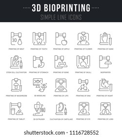 Set of outline signs and symbols of 3d bioprinting with names. Collection vector thin line icons and infographics elements. Simple linear pictogram pack for web graphics and apps.