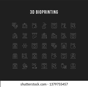 Set of outline signs and symbols of 3d bioprinting. Collection vector thin line icons and infographics elements. Simple linear pictogram pack for web graphics and apps.