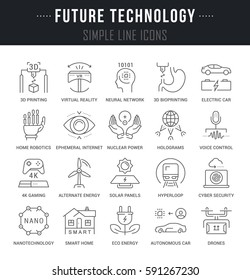 Set of outline signs and symbols of future technology. Collection vector thin line icons and infographics elements. Simple linear pictogram pack for web graphics and apps.