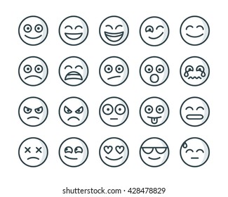 Set of outline smiley icons. Emoji in line trendy style. Emoticons line art.