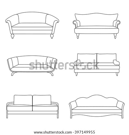 Set Outline Sofa Isolated On White Stock Vector Royalty Free