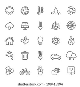 Set of Outline Stroke Ecology Icons Vector Illustration