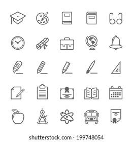 Set of Outline stroke Education icons Vector illustration