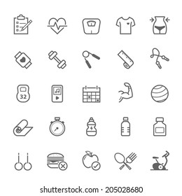 Set of Outline stroke Fitness icons Vector illustration