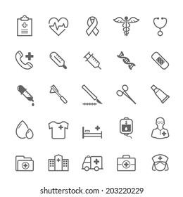 Set of Outline stroke Medical icons Vector illustration