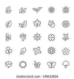 Set of Outline Stroke Natural Icons Vector Illustration
