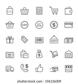 Set of Outline stroke Shopping icons Vector illustration