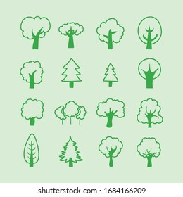 Set of outline Trees icon. Vector Illustration. Plants and garden.