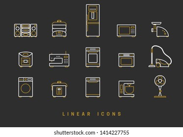 Set of outline vector home appliances icons for web design in simple linear style isolated on black background
