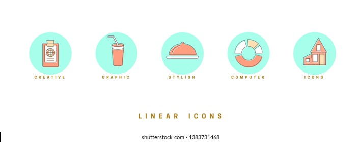 Set of outline vector icons for web design in simple linear style isolated on white background.