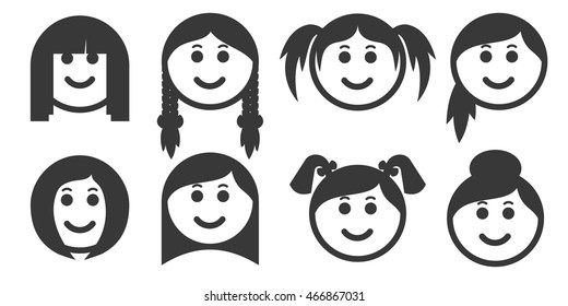 Set of outline woman hair style emoticons emoji isolated on white background women with