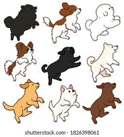 Set of outlined adorable and fluffy dogs jumping