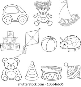 Set of outlined baby's toys elements.Vector illustration