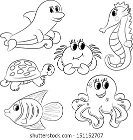 Set of outlined cartoon sea animals. Vector illustration