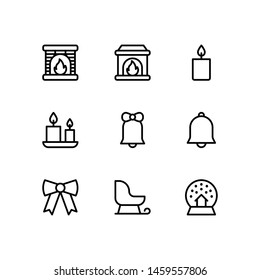 Set of outlined Christmas icons on white background. Winter vector set