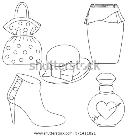 61d83d25156 Set Outlined Shoes Bag Skirt Hat Stock Vector (Royalty Free ...