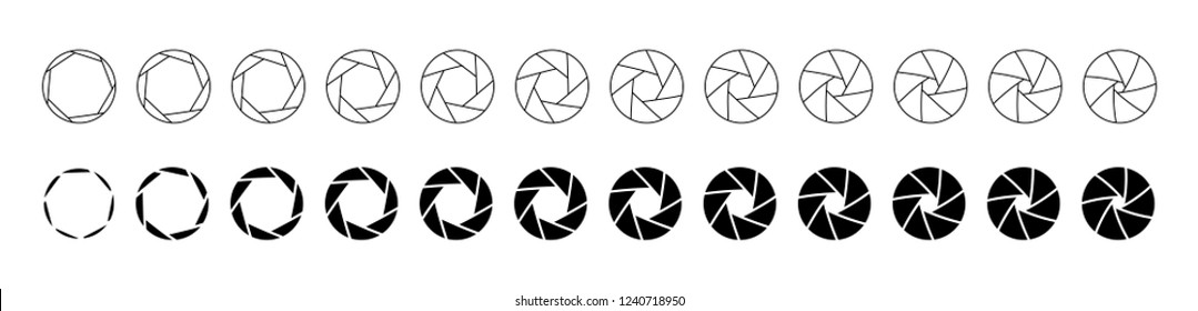 Set of outlined and silhouette lens aperture positions. Camera diaphragm stops for motion graphic animation