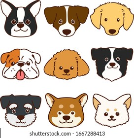 Set of outlined various cute dog faces