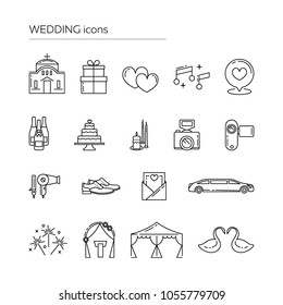 Set of outlined wedding icons. Eps 10 vector illustration. Line art wedding icons collection.