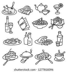 set of outlines icons for restaurant and cafe food and dishes