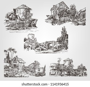 A set of outlines of water mills. Graphic drawing