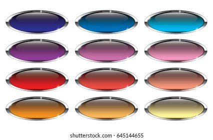 Set of oval backgrounds with a silver frame, with space for your text. Vector illustration.