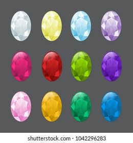 Set of oval gemstones in different colors. To illustrate aquamarine, chrystal, zircon or other gem