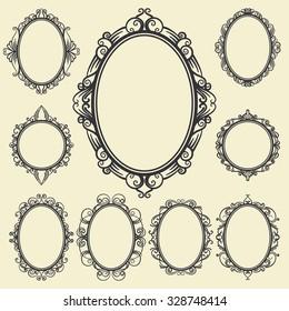set of oval and round vintage frames, design elements