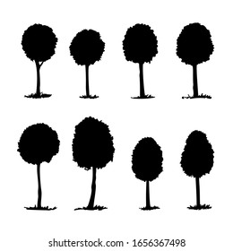Set of oval trees, vector stencil