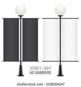 Set of oval vector lamposts, with black and white advertising flags, isolated on a white backgorund. Vertical promotional double sided flags realistic mockups.